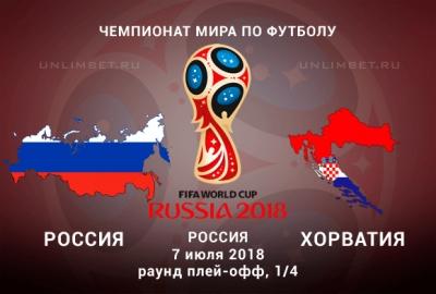 Россия - Хорватия 7.07.2018: прогноз и ставки на 1/4 финала ЧМ по футболу